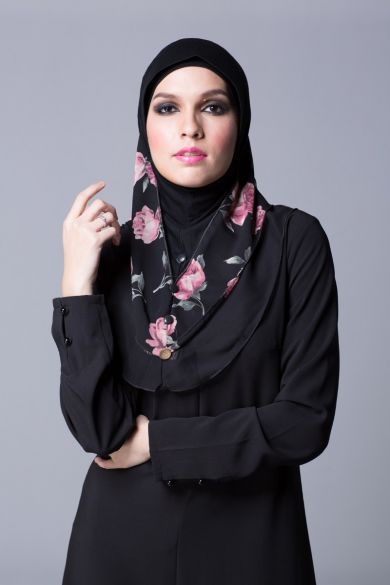 Floral Ruffle Instant Hijab