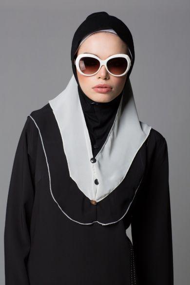 Black & White Colour block Ruffle Instant Hijab